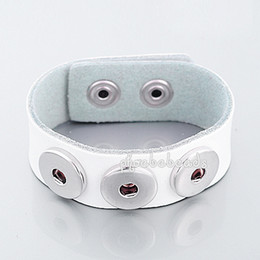Wholesale 2014 Hot Sale White Color Leather Chunk Noosa Snap Bracelets PBNB