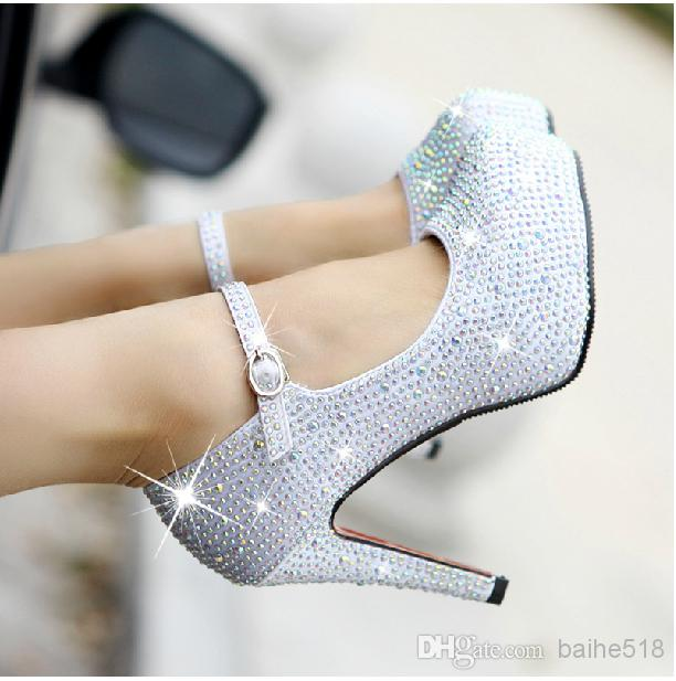 new rhinestone wedding shoes star high heeled platform white crystal genuine leather womens shoes bridal womens pumps 8880