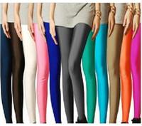 Lycra Leggings Skinny,Slim New 2014 Shiny Neon Metallic Electric Coloured Leggings Tights pantyhose ankle length trousers leggings