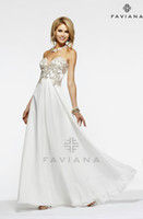 Wholesale 2014 Backless Prom Dresses Strapless Chiffon with decorative floral decals and Mesh insert on bodice Shown in Ivory Graduation Gowns