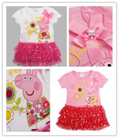 Wholesale New Arrive Baby Girls Peppa Pig Flower Corsage Tutu Lace Sequins Dresses Cotton Elastic Cuff Summer Girl Dress Nova Pink Red C2265