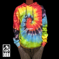 Wholesale Handmade Tie dye Classic Swirl rainbow colorful Skateboard T shirt Terry lovers Pullover Hoodies Sweatshirts