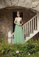 Reference Images V-Neck Organza Green Elegant Prom Dresses Sexy Crystal V-Neck Sleeveless A-Line Empire Organza Floor-Length Formal Occasion Evening Dresses New Party Gowns