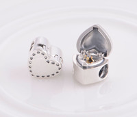Metals Hearts, Love Silver Authentic 925 Sterling Silver Marry Me Heart Shaped Ring Box Bead Fits European Pandora Jewelry Charm Beads Bracelets