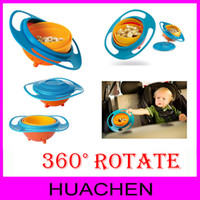 Wholesale 7856 HOT SELLING Children Kid Baby Toy Universal Degree Rotate Spill Proof Gyro Bowl Dishes