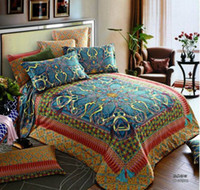 100% Cotton Woven Adult Egyptian 100% cotton vintage blue satin luxury bedding comforter set king queen size duvet cover sheets bedspread bed sheet quilts bed in a