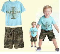 Boy Summer Short 2014 Children's suit Summer Baby Boy's 2Pc Casual Suit Clothing boy plane T-shirt camouflage pants suit