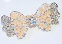 Barrettes & Clips Women's Wedding women vintage hair clip jewelry alloy Bow rhinestone hair clip Hair Accessories 100pcs Free shipping