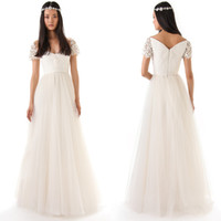 A-Line Reference Images V-Neck 2014 Long Boho Simple Bling Backless Vintage Short Sleeves V Neck Cheap Sexy Wedding Dress Formal Bridal Dresses Bohemian Beach Ball Gowns