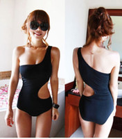 Wholesale Details about Sexy Ladies Monokini One Shoulder One Piece Bikini NEW Swimsuit Black Swimwear