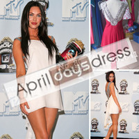 Reference Images V-Neck Chiffon Custom made Real Photo Megan Fox movie awards chiffon double traps beads accented backless white mini celebrity dresses evening dress