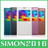 Wholesale Genuine Official S View Open Window Flip Leather PU Case Skin Back Battery Cover for Samsung GALAXY S5 I9600 With Retail Package