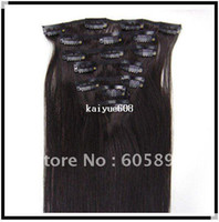 Wholesale 120g quot set for full head human hair extension clip in hair extension B natural black straight