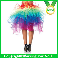 adult rainbow tutus - New Rainbow Tail Fluffy Organza Girl Ladies s Sexy Adult Tutu Ballet Dance Rave Party Costume Skirt