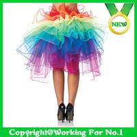 achat en gros de fille jupe pelucheux-Sexy Adult Tutu Ballet New arc-en-Queue Fluffy Organza Fille Mesdames danse Rave Party Costume Jupe