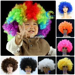 free shipping 10pcs fashion multi colored carnival christmas halloween party wigs big synthetic afro wigs 130g colored wigs halloween on sale - Colored Wig