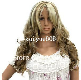 Free Shipping-women's mixed blonde long curly synthetic hair wigs shop window party wigs