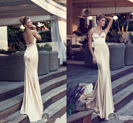 Wholesale Sexy Stain Champagne Wedding Dresses Backless Nurit Hen Long Mermaid Sweetheart Spaghetti Dress Beaded Vestidos
