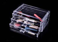 Plastic acrylic display box - Three Layers Drawer style Transparent Jewelry Display Top Acrylic Make Up Organizer Boxes Jewelry Storage Box x15x11 cm K07572
