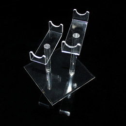 Acrylic e cig display showcase electronic cigarette vaporizer pen clear standing show shelf holder rack for ecig ego vv battery DHL