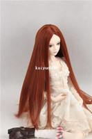 Wholesale Bjd doll wig high temperature wire auburn medium parting long straight hair with chip on