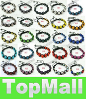 Wholesale JJ429 Disco Crystal balls braid shamballa bracelet mm Clay crystal beads wrap charm bracelets