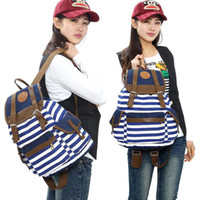 Wholesale S5Q Women s Striped Bookbag Travel Rucksack School Bag Satchel Canvas Backpack AAACYV