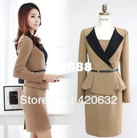 Wholesale women plus size business short dress suits ladies work suit elegant office uniform style dress