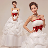 Wholesale 2014 Handmade Custom Beaded Strapless A Line Sleeveless Court Train Lace Up Back Wedding Dress Weeding Grown
