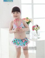 Wholesale Summer Girls Bow Dots Flowers With Hat Set Swimwear Kids Clothing Split Bikini Ruffles Bowkont Floral Beachwear Sex Swimsuit H0583