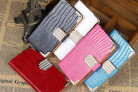 Wholesale Diamond bling snake croco lizards PU Leather Case Flip Cover Holder Wallet Credit Card Slot for Samsung S3 S4 S5 S6 edge Note Free