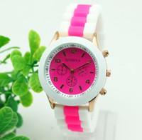 bi watches - 15 Colors Women s Geneva Silicone bi colour Band Jelly Gel Quartz Analog Sports Women Dress Watches DHL free