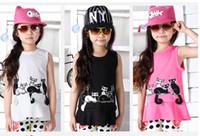 Girl Summer Long New Arrivel 2014 Summer Children Girls Cute Cat Printed Tee Shirt Girl Korean Style Bottom Clothes Kids Leisure Sleeveless T-shirts I0627