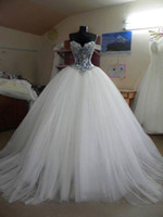 white ball gown wedding dresses 2014 blingbling crystal sequ...
