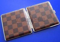 Square   10pcs lot High Quality Lleather Cigarette Case Double Cigarette Case 20 Ultra-thin Metal Cigarette Box