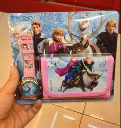 Wholesale - Frozen Anna Elsa Sets Watch And Wallet Purse Wrist Quartz Christmas Children Gift Boys Girls Cartoon Watches