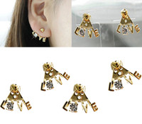 Wholesale Cheap Price Hot Crystal Love Letter Heart Ear Cuff Stud Earring Korea Style Fashion Gold Metal Charm pair JE06204