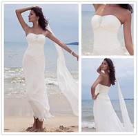 Sheath/Column Reference Images Sweetheart Fabulous Beads Pleats Beach Wedding Dresses Sheath Sweetheart Neckline Zipper Back Floor-Length Chiffon Bridal Gown