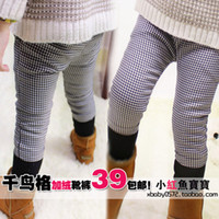 Jeans Girl Summer Children's clothing trousers 2013 autumn and winter black and white plaid child trousers female child boot cut jeans baby skinny