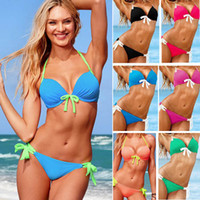 Wholesale Sexy Women s Bikini with Bow Knot Water Drops Cup Push Up Padded Swimwear Halter Straps Beachwear Top amp Bottom Swimsuits Bathing suit Newest