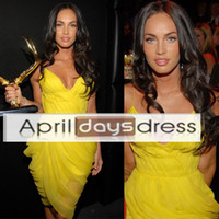 Reference Images V-Neck Chiffon Custom made Custom Made Megan Fox Spaghetti Straps Pleating Chiffon Yellow Mini Short Red Carpet Celebrity Dresses Free