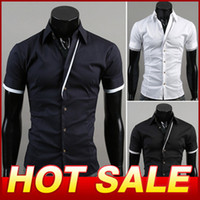 Wholesale Man Spring Short Sleeve Shirt Slim Fit Casual Shirt Men Clothing Fashion Specialty placket Designer Shirts Camisas X391