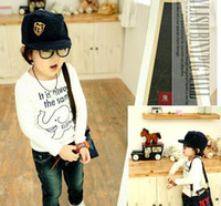 Unisex Summer Standard Wholesale 2014 New Kids Baby Clothing Boys Animal Elephants Tops Children Long Sleeve Tees Cool Boys Letter T-Shirt 3-6 Years 4 Pieces Lot