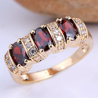 Wholesale 3 stone Oval Red Garnet Gold Plated Solid Sterling Silver Women Ring Anniversary Gift for Wife R091