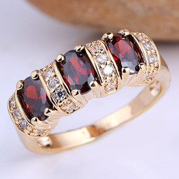 Wholesale 3 stone Oval Red Garnet Gold Plated Solid Sterling Silver Women Ring R091