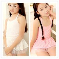 halter tops - New Summer Girls Halter Lace Dress Top Underwear Set Swimwear Kids Dots Flowers Lovely Beachwear Childs Split Gauze Swimsuit H0589