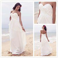 Sheath/Column Reference Images Sweetheart New Arrival Pleats Sheath Beach Wedding Dresses Sweetheart Neckline Zipper Back Floor-Length Chiffon Bridal Gown
