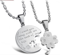Pendant Necklaces women and men Stainless Steel 8%off!Diamond!Flowers short of fashion!A clover!Titanium steel couple necklace!Stainless steel!DROP SHIPPING!hot sale!1pairs 2pcsTY