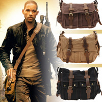 Cross Body Men Distressed US Stock! Augur Vintage Canvas Leather Satchel School Military Shoulder Bag Tablet Case