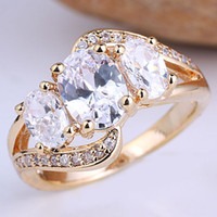 Wholesale Women s Gold GP Sterling Silver Ring Egg Stone Clear CZ R094